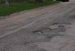 Przelewice - droga w kierunku szkoły